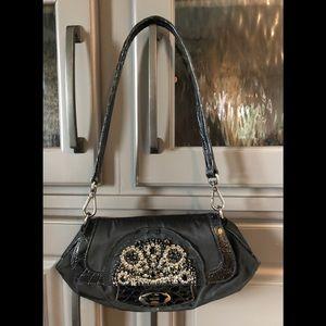 PRADA Embellished Black Tessuto Skipper Bag